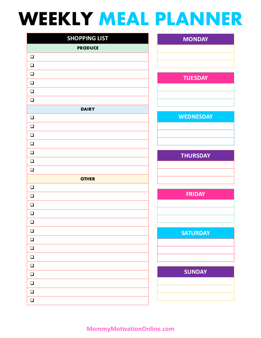 Mommy Motivation Weekly Meal Planner
